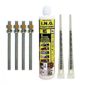 ING FIXATIONS Kit scellement chimique Polyester 300 ml + tiges filetées 10x160- A860050