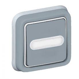 LEGRAND Plexo Bouton poussoir lumineux étanche complet encastré gris avec porte étiquette IP55 - 069824