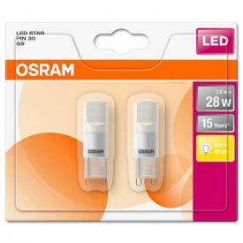 OSRAM Lot de 2 Ampoules LED G9 230V 2,6W(=28W) 290lm 2700°K capsule