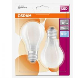 OSRAM Lot de 2 Ampoules LED en verre dépoli E27 230V 806lm 7W standard blanc froid