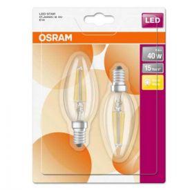 OSRAM Lot de 2 Ampoules LED filament E14 230V 4W 470lm flamme