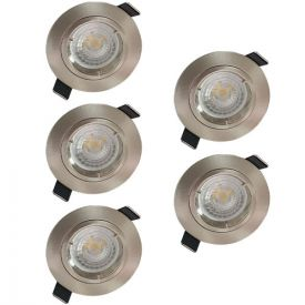 Lot de 5 spots LED encastrables 85mm GU10 230V 5x5W 380lm 2700K alu brossé