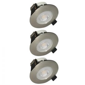 Lot de 3 spots LED remplaçables encastrables 80mm 230V 3x5W 400lm 2700°K alu brossé