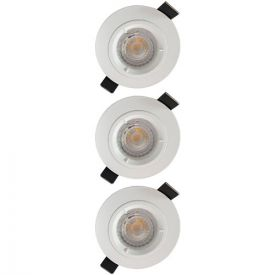 Lot de 3 spots LED encastrables 85mm GU10 230V 3x5W 380lm 4000K blanc
