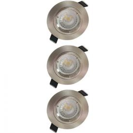 Lot de 3 spots LED encastrables 85mm GU10 230V 3x5W 380lm 2700K alu brossé