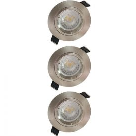 Lot de 3 spots LED encastrables 85mm GU10 230V 3x5W 380lm 4000K alu brossé