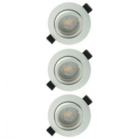 Lot de 3 spots LED encastrables et orientables 83mm GU10 230V 3x5W 380lm 2700K blanc