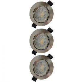 Lot de 3 spots LED encastrables et orientables 83mm GU10 230V 3x5W 380lm 2700K alu brossé