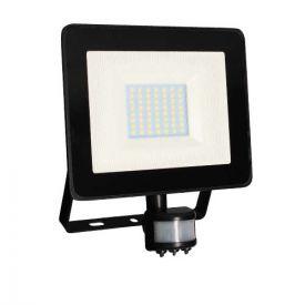 Projecteur extérieur LED extra plat à détection 230V 50W 4000lm 4000K noir