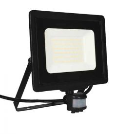 Projecteur extérieur LED extra plat précâblé à détection 230V 50W 4250lm 4000K noir