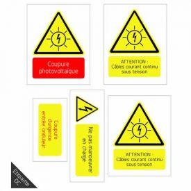 Etiquette de signalisation photovoltaïque - Partie DC