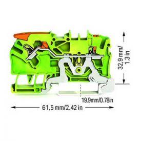 Wago TOPJOB®S Borne de passage à levier 2 fils 2,5mm² vert/jaune - 2102-5207
