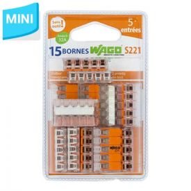 WAGO S221 blister de 15 mini bornes de connexion automatique 5 fils